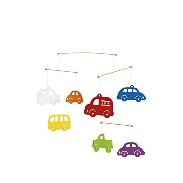 Selecta 60003 Colourful Cars Mobile Wooden Mobile 50 cm Multi-Coloured