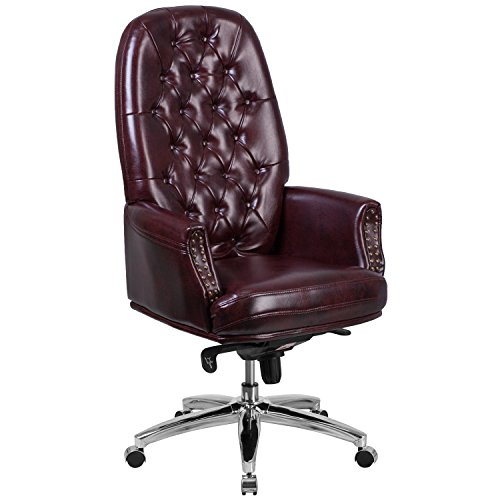 Flash Furniture High Back Traditional Tufted Burgundy Leather Multifunction Executive Swivel Chair with Arms - Back Traditional Leather