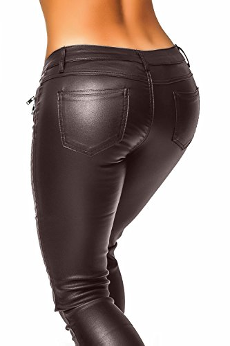 Mujer Piel Sintética Pantalones (339) marrón