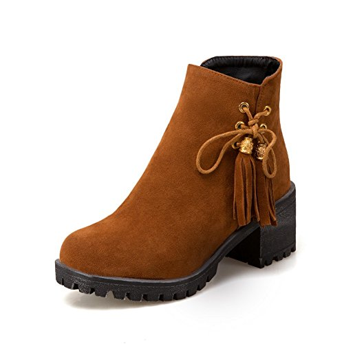 BalaMasa Womens Fringed Zipper Ribbons Ankle-High Urethane Boots ABL10612 Brown FFTMnYqiiB