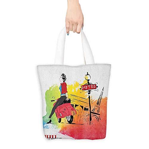 (Canvas equipment bag Girls Woman on a Pink Motorcycle Trend Vogue Fashion in Paris Eiffel Tower Art Print Canvas zipper 16.5