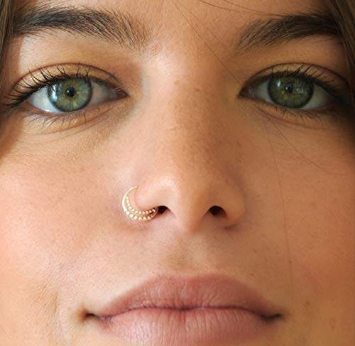 Gold Nose Rings Hoop Double Half Moon 14k 20 Gauge 8mm Crescent Cartilage Body Piercing 5 16 Inch Handmade Products Jewelry