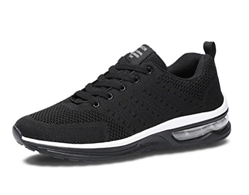 Scennek Mens and Womens Sneakers Air Cushion Sports Running Shoes for Men Lightweight Breathable Athletic Black (Best Sports Shoes For Running In India)