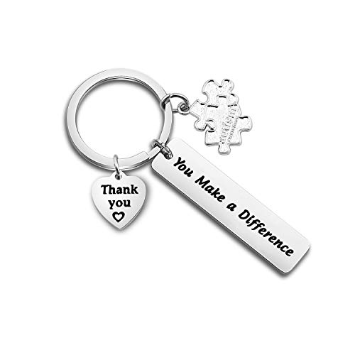 TGBJE Autism Teacher Gift You Make A Difference Keychain Gift for Autism Awareness,SPED Teacher's Gift Inspirational Gift (Autism Teacher Gift)