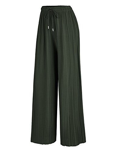 - Made By Johnny WB1484 Womens Pleated Wide Leg Palazzo Pants with Drawstring OneSize Olive