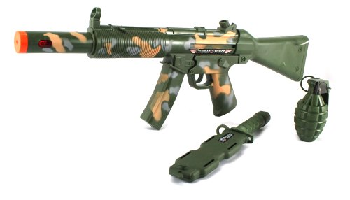 Special V Force Commander Toy Gun Complete Combo Set w/ Battery Operated Toy Gun and Toy Grenade, Dummy Knife with Sheath