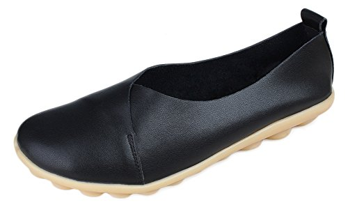 Kunsto Women's Leather Loafer Glove Shoes US Size 7 Pure Black