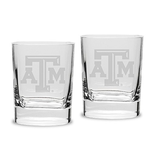 University Glass NCAA Texas A&M Aggies 14 oz Square Double Old Fashion Glasses Deep Etched Engraved, One Size, Clear