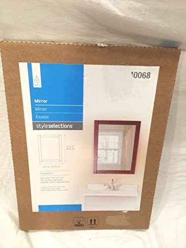 Style Selections Bathroom Hall Wall Mount Mirror Cherry Finish - Selections Style Mirror