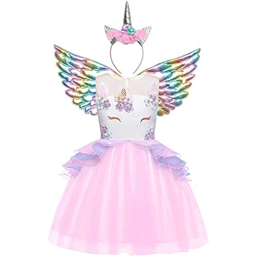 Unicorn Costume Girls 3t 4t Pageant Princess Flower Dress with Wing&Headband