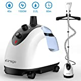 Cirago Garment Fabric Steamer, Professional Heavy Duty Hanging Clothes Steamer,2.2 L(74OZ) 80min of Continuous Steam, 2 Level Steam Adjustment, with Fabric Brush/Garment Hanger/Anti-scalding Gloves