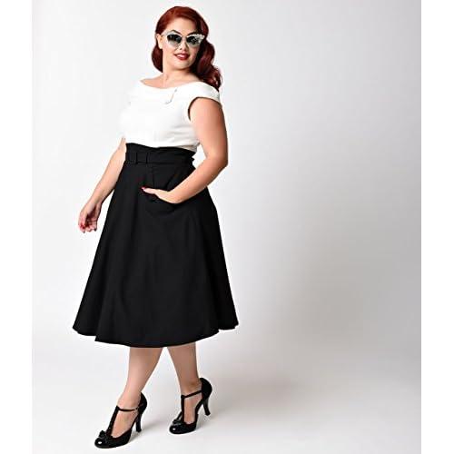 Unique Vintage Plus Size 1950s Black & White Colorblock ...