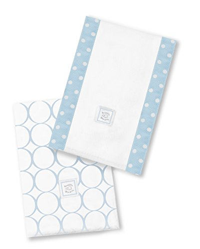 SwaddleDesigns Baby Burpies, Set of 2 Cotton Burp Cloths, Pastel Blue Mod Circles by SwaddleDesigns