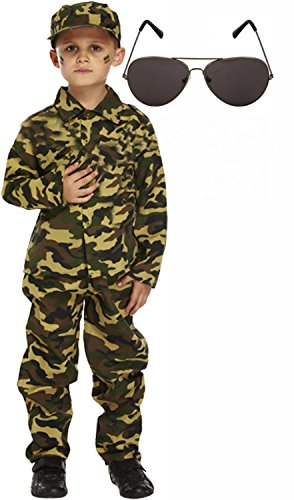 Army Boy Soldier Action Man Kids Fancy Dress Costume Outfit With Shades Age 4-6 (Child Green Army Man Costume)