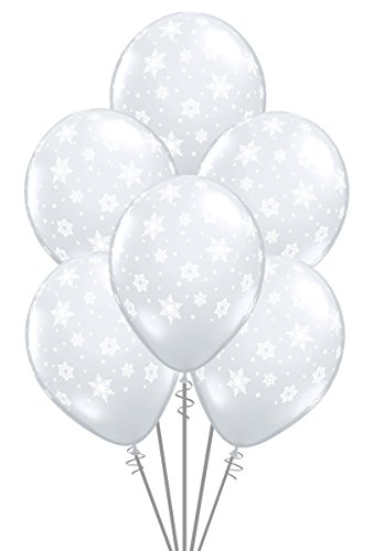 Qualatex Snowflakes-A-Round Biodegradable Latex Balloons, Diamond Clear Color, 11-Inches (12-Units)