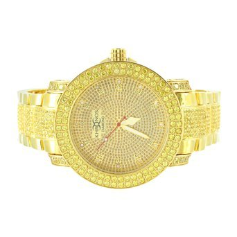 Two Row Diamond Watch (Iced Out 14k Gold Finish Real Diamond Men 2 Row Bezel Classy Khronos Steel Watch)