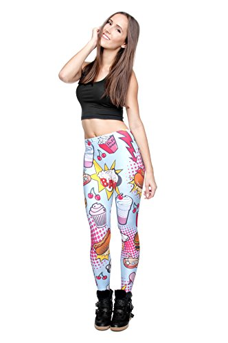 Leggings largos elásticos tupidos para mujer para fitness, entrenamiento, yoga o running FAST FOOD COMIX