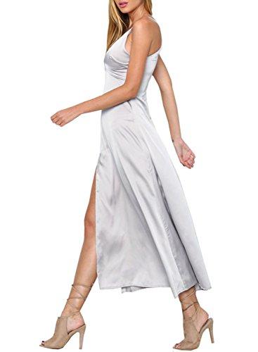 Futurino Women's Side Split Spaghetti Strap Glossy V Neck Satin Slip Maxi Dress