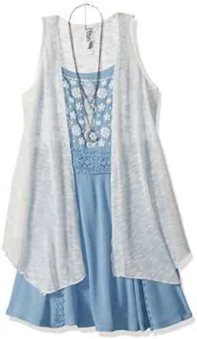 Beautees Big Girls' 2 Pc. Solid Duster Over Chambray Tank Dress