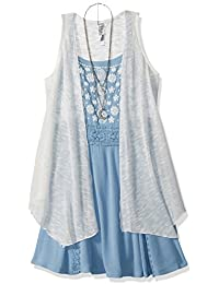 Beautees Big Girls' 2 Pc. Solid Duster Over Chambray Tank...