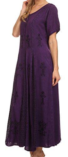 Sakkas 15227 - Hailey Cap Sleeve Caftan Long Embroidered Stonewashed Dress - Purple - 1X/2X