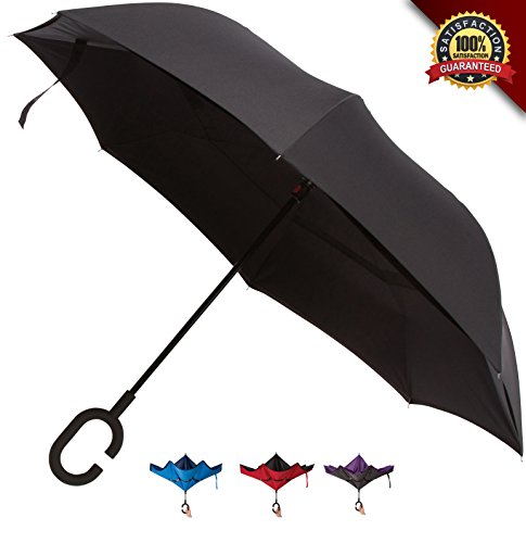Inverted Umbrella - Double Layer Windproof Reverse Folding Umbrellas for Cars - Anti UV Protection C-Shaped Handle for Travel Outdoor Rain Sun - Carrying Bag by SLABSTONE (Black, - Face To Get Of Shape How Good