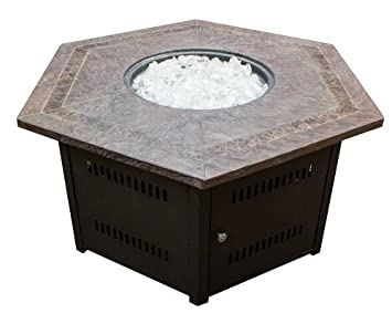 Hiland Fire Pit Hexagon With Slate Table, Large
