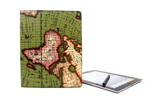 faux-leather-smart-ipad-case-fits-new-ipad-ipad-2-smart-cover-auto-sleep-wake-ancient-map-pattern
