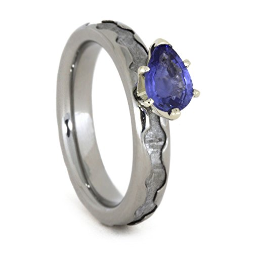 Created Blue Sapphire Pear,Gibeon Meteorite 4mm Comfort-Fit Titanium Engagement Band, Size 13.75 by The Men's Jewelry Store (Unisex Jewelry)