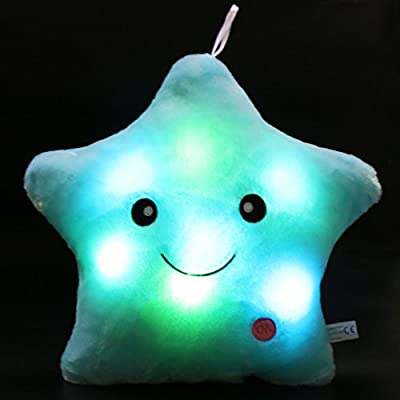 Wewill Creative Glowing LED Night Light Twinkle Star Shape Plush Pillow Stuffed Toys, Blue by WEWILL