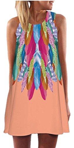 Pink Jaycargogo Crewneck Dress Sleeveless Digital Print Womens Summer Beach xqaw8U