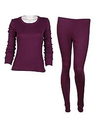 Godsen Women's 2 Piece Thermal Pajamas Long Johns Set Cotton Purple