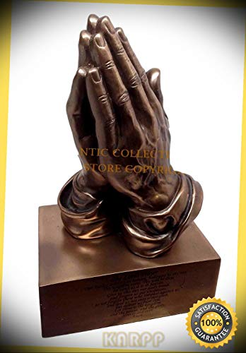 Praying Hands Prayer Box - KARPP The Lord's Prayer Statue Praying Hands Figurine Desktop Paperweight Premium Decor Indoor Collectible Figurines
