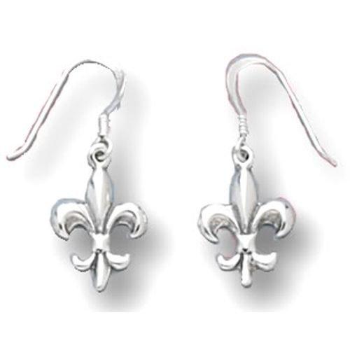 Sterling Silver Fleur-de-lis Earrings on French Wire