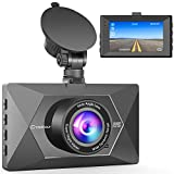 Dash Cam, Crosstour 1080P Car DVR Dashboard Camera Full HD with 3' LCD Screen 170°Wide Angle, WDR, G-Sensor, Loop Recording and Motion Detection