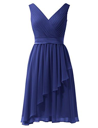 Alicepub V-cou Robe De Demoiselle D'honneur En Mousseline De Soie Robe Courte De Mariée Bal Sans Manches Partie Bleu Royal