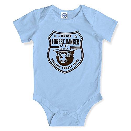 Hank Player U.S.A. Smokey Bear Junior Ranger Baby Onesie (12M, Vintage Ice Blue) ()