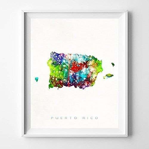 Amazon.com: Puerto Rico Watercolor Map Print Wall Art