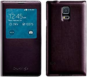 Window flip cover case for Samsung Galaxy S5 i9600 Maroon