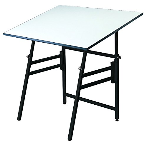 - Alvin Professional Table, Black Base White Top 36