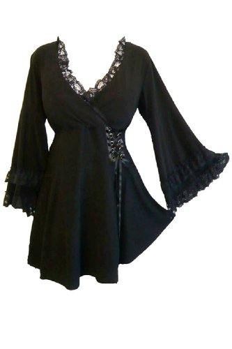 Dare to Wear Gothic Boho Women's Plus Size Victoria Corset Top Koi Pond 1x