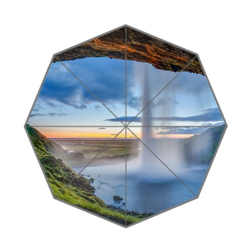 Wonderful Stunning Seljalandsfoss Islandia Falls Seljalands River Volcano Eyjafjallajokull Glacier Waterfall Unique Durable Custom Foldable Umbrella