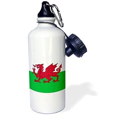 liandun Drapeau de wales-welsh Dragon Rouge sur Blanc et Vert Sport bouteille d'eau, 21oz, blanc