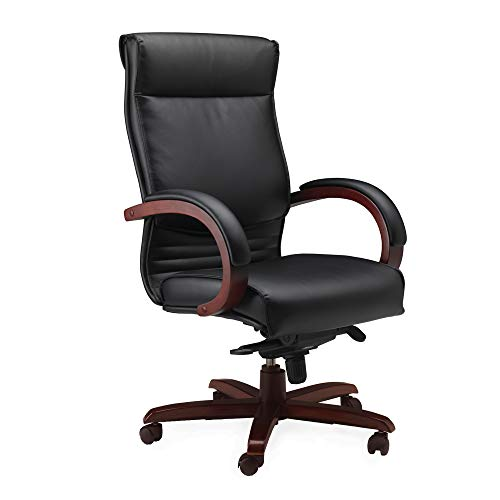 Mayline CSCRY Napoli High Back Leather Task Chair with Arms, Sierra Cherry Veneer, Black - Cherry Mayline Veneer