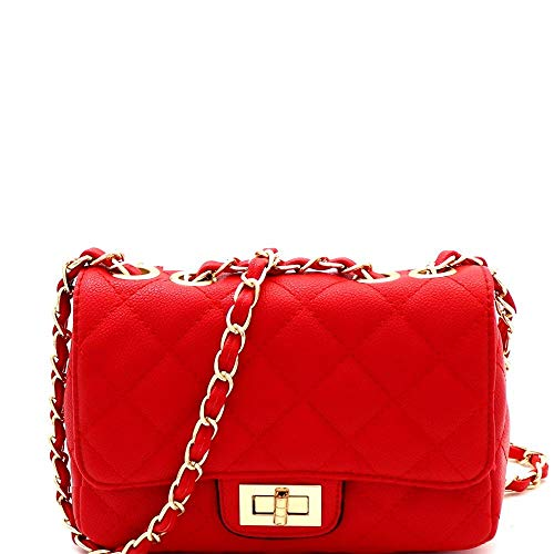 (Quilted Turn-Lock Chain Cross Body Shoulder Bag Red)