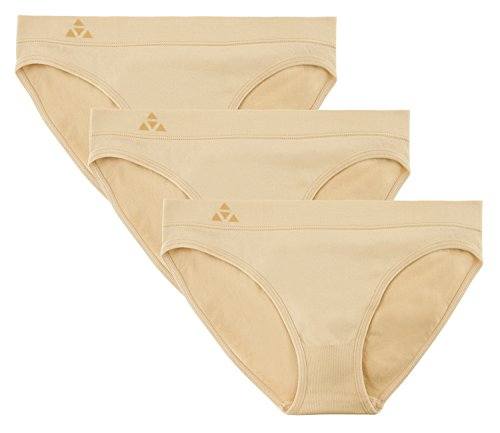 Balanced Tech Women's 3 Pack Seamless Low-Rise Bikini Panties - Nude - X-Small