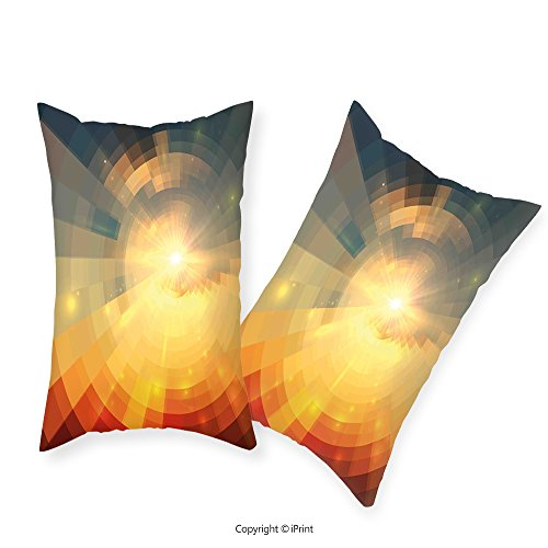IPrint Premium Cotton Zippered Pillow Cases 2 Pack Abstract Sunrise Sunbeams with Clear Sky Horizon Vector Image in Pixels Mosaic Artwork Multicolor For home (Premium Sunrise Futon)