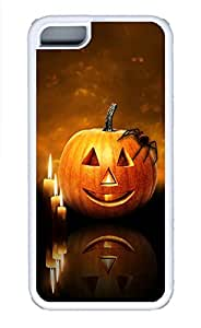 iPhone 5c Cases - Lovely Mobile Phone Evening Sunset Pumpkin Candles White Rubber Bumper Protecting Shell