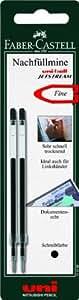Faber-Castell 144298 uni-ball Jetstream - Recambios de bolígrafo, trazo de 0,5 mm, 2 unidades, color negro