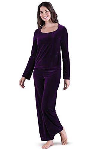 (PajamaGram Women's Velour Pajamas with Long-Sleeved Top, Amethyst, 2X (20-22))